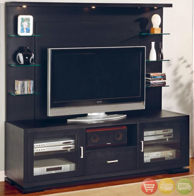 Flat panel tv wall unit entertainment center black wood flats tv wall units and entertainment Living room flat screen wall design