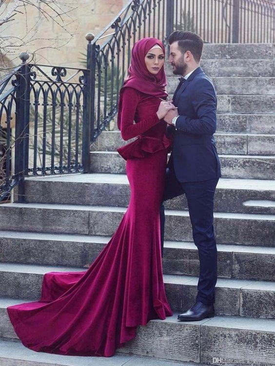 1bab64ee3d7 Mermaid Long Sleeves Burgundy Long Velvet Muslim Prom Dresses - Prom Dresses  2019 - Muslim Prom