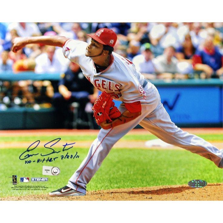 Ervin Santana Angels Road Jersey Pitching Horizontal 8x10 Photo w/' No Hitter, 7/27/11' Insc (MLB Auth)