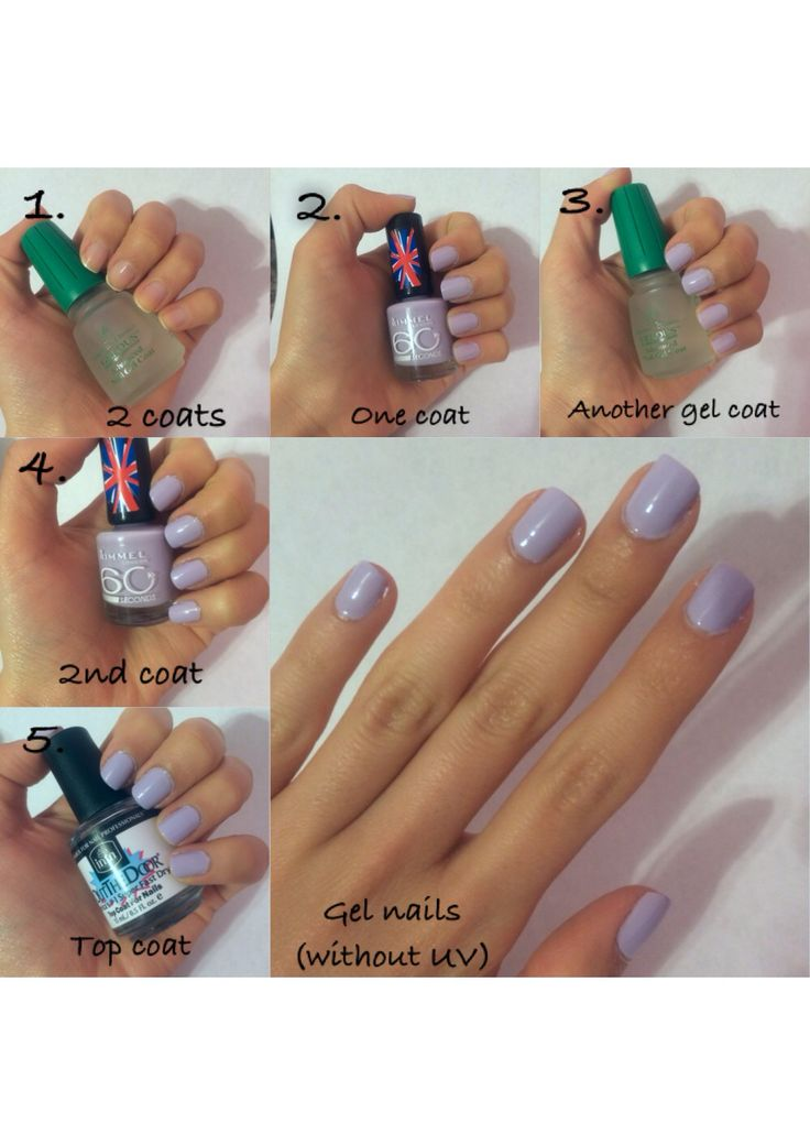 "Easy gel nails! Without UV. Using: Gelous gel coat, any nail polish, and ""out the door"" top coat!"