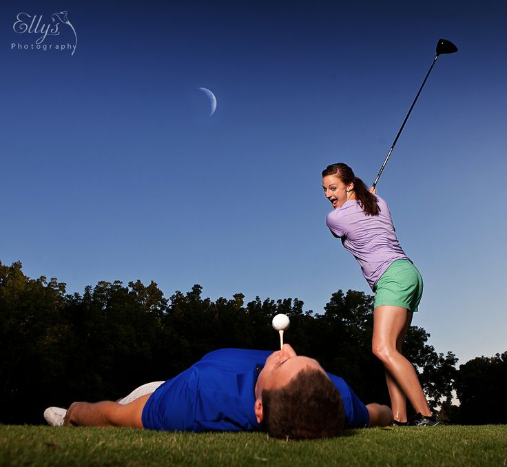 Engagement photo with golf - funny except with a tennis ball and racket
