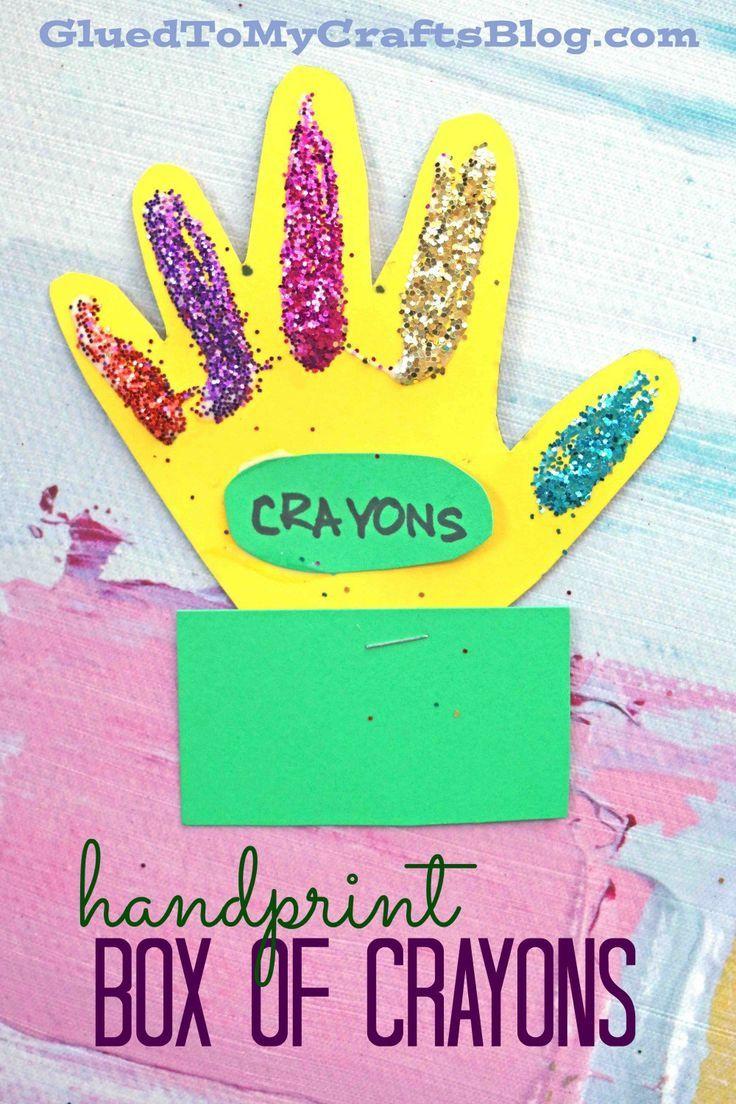 Handprint Box Of Crayons Kid Craft Preschool Art Activities