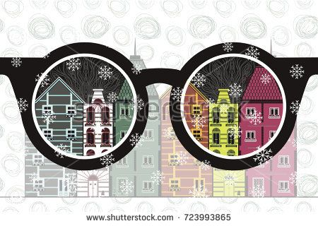 vector image of glasses and view of the city. old colored buildings in European style. winter and snowflakes.