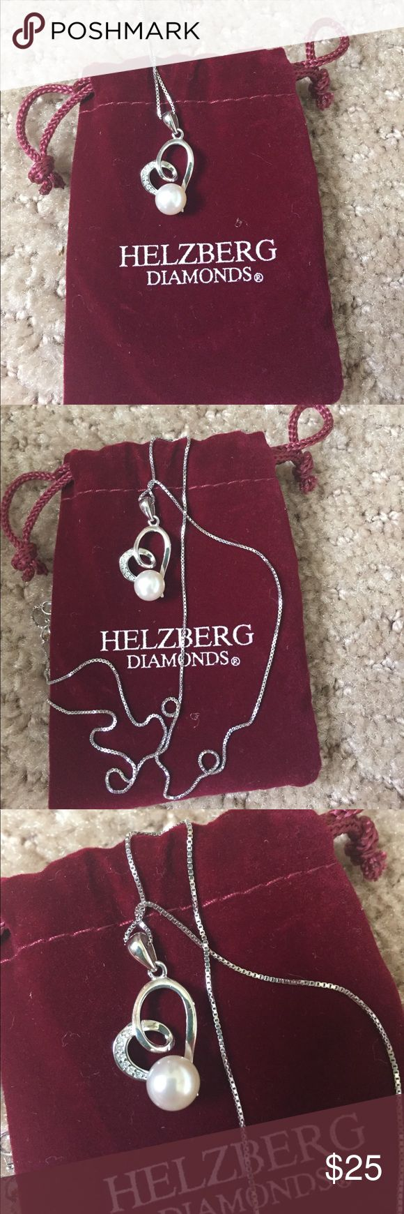 Helzberg diamonds pearl necklace. New in dust ruffle bag, Helzberg diamonds heart necklace with diamond accents and white June pearl birthstone. helzberg diamonds Jewelry Necklaces