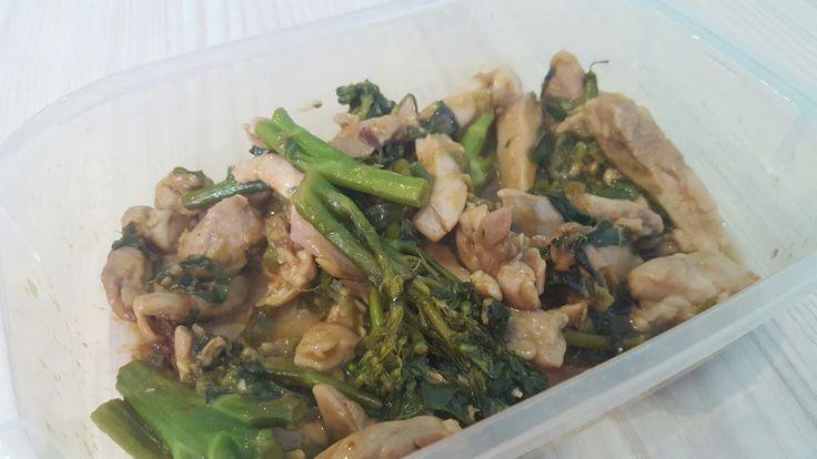 Chicken Terryaki Stir fry. Thigh, bok choy, beans, shallots, Tamari, garlic + GF organic stir through sauce.