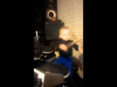 2year old plays the pretender by Foo Fighters - YouTube