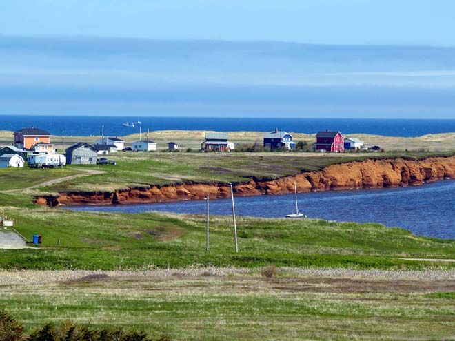 Red earth of the Magdalen Islands in Quebec