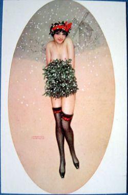 vintagemarlene:  vintage holiday postcard by raphael kirchner (1876-1917)