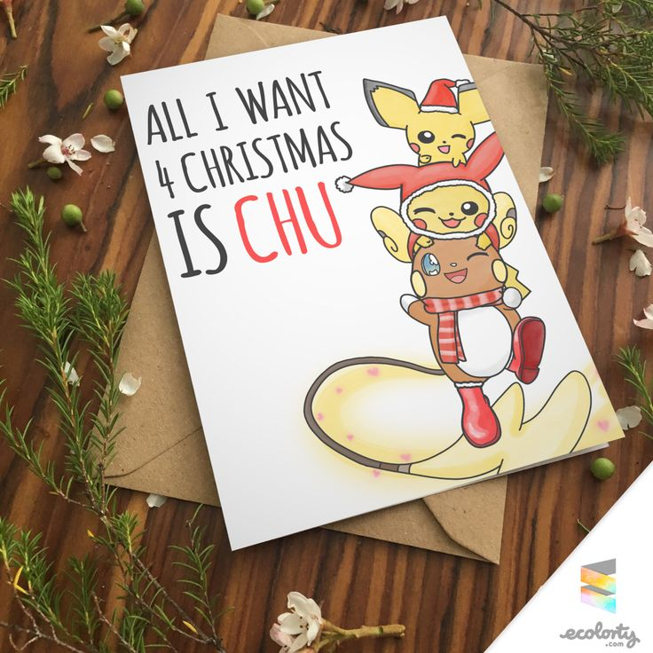 A personal favorite from my Etsy shop https://www.etsy.com/au/listing/387163698/pikachu-christmas-card-xmas-pokemon-sun