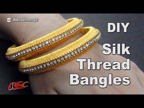 Making silk thread checker model bangles tutorial - YouTube