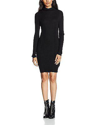 8, Black, New Look Women's Rib Roll Neck Dress NEW