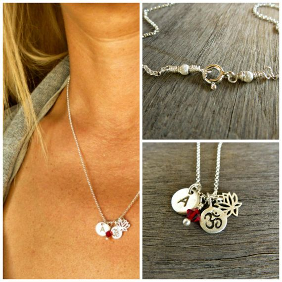 Silver YOGA Necklace,Tiny Om charm, lotus flower, initial disc, birthstone necklace. Personalized Yoga Necklace, Outdoor and Sportsman ,