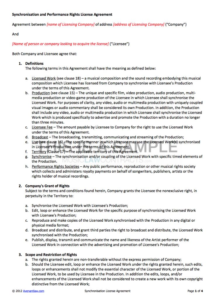 Browse Our Sample of Music License Agreement Template for
