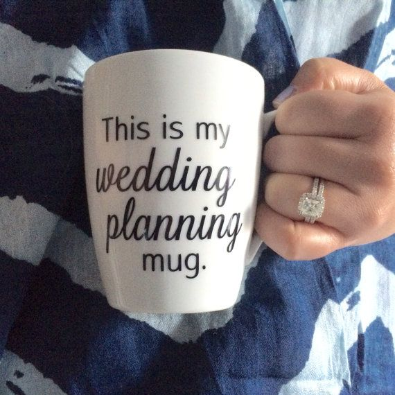 "Wedding Planning Mug with ""wedding planning"" in a different color (e.g. mint, purple, burgundy)."