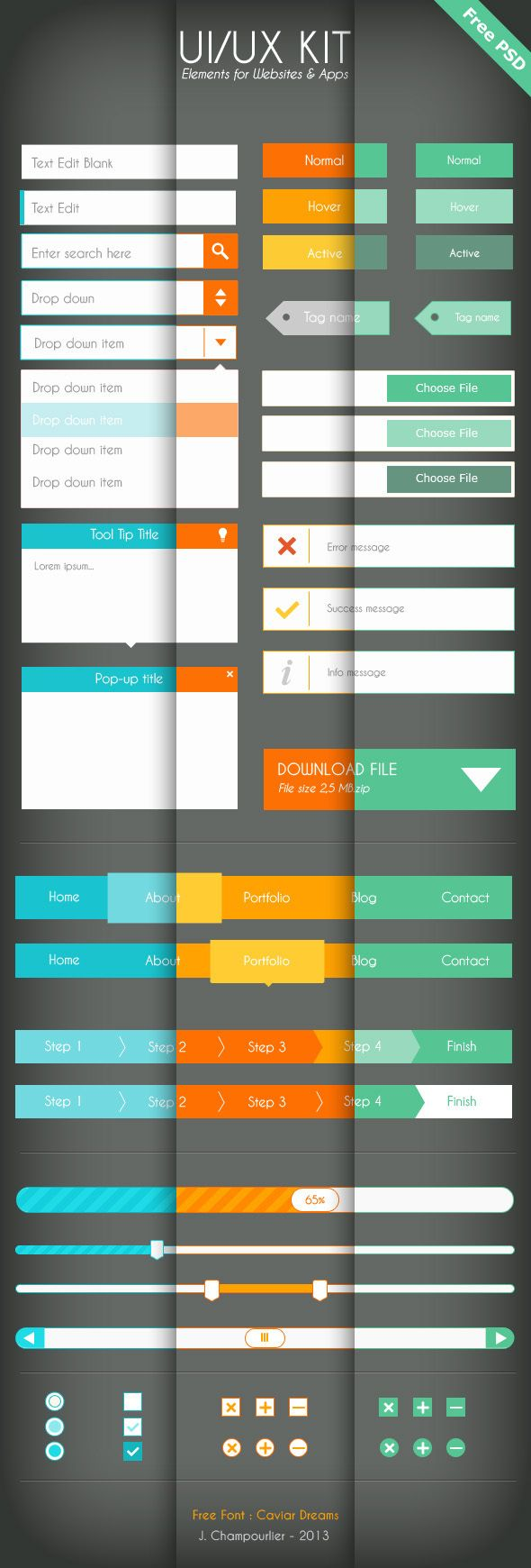 UI/UX Flat design - Free PSD by Julie Champourlier, via Behance