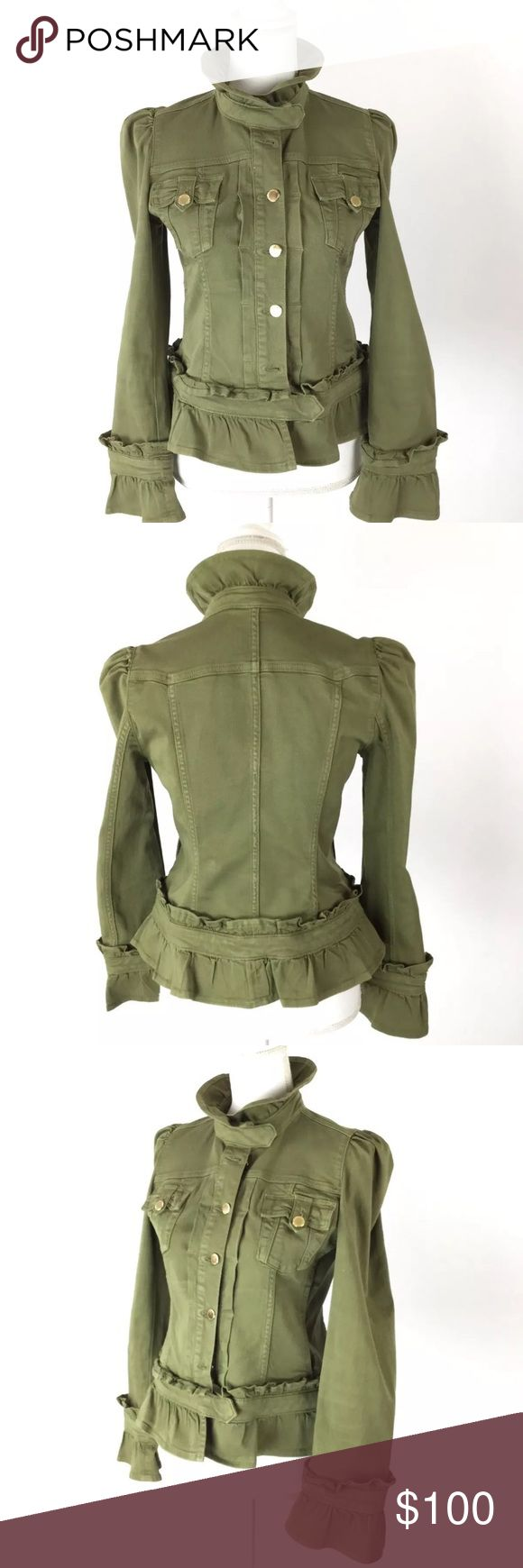 "R.E.D. Valentino Designer Ruffle Military Jacket R.E.D. Valentino Designer Ruffle Military Jacket Army Green  Excellent Preowned Condition   ***Please know the Size tag is missing so please check the measurements of a similar item you own against this item's measurements***  MEASUREMENTS: CHEST (armpit seam to armpit seam) 17"" SHOULDERS (shoulder seam to shoulder seam) 13"" ARM (armpit seam to end of sleeve) 17"" ARM (shoulder seam to end of sleeve) 25"" LENGTH (base of collar to bottom of…"