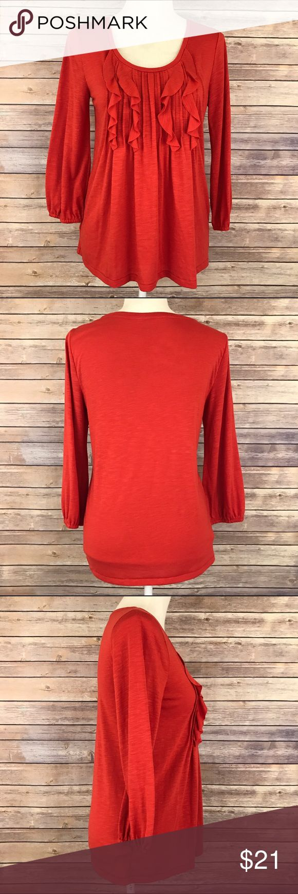 Ann Taylor Loft Burnt Orange Ruffle Tiered Top S Bust: Length:  Condition: No Rips; No Stains  50% Viscose 50% Polyester   📦I ship orders within 24 Hours! {Except Weekends}📦  🚫No Trades🚫No Holds🚫 LOFT Tops Blouses