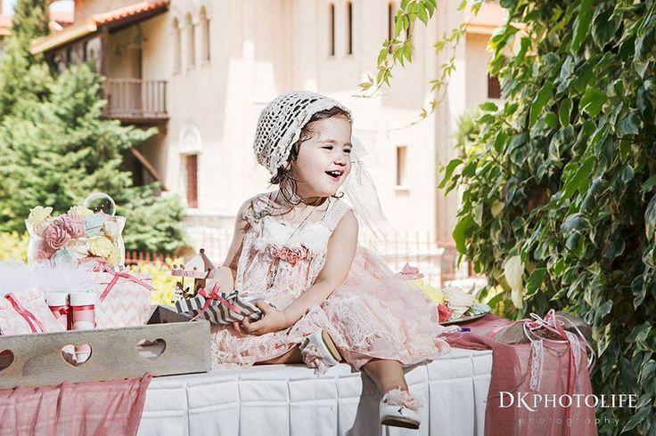 by erofili design, romantic, vintage inspired, handmade baptism dress, silk satin, lace, dusty pink, offwhite, handmade crochet hat, handmade flowers
