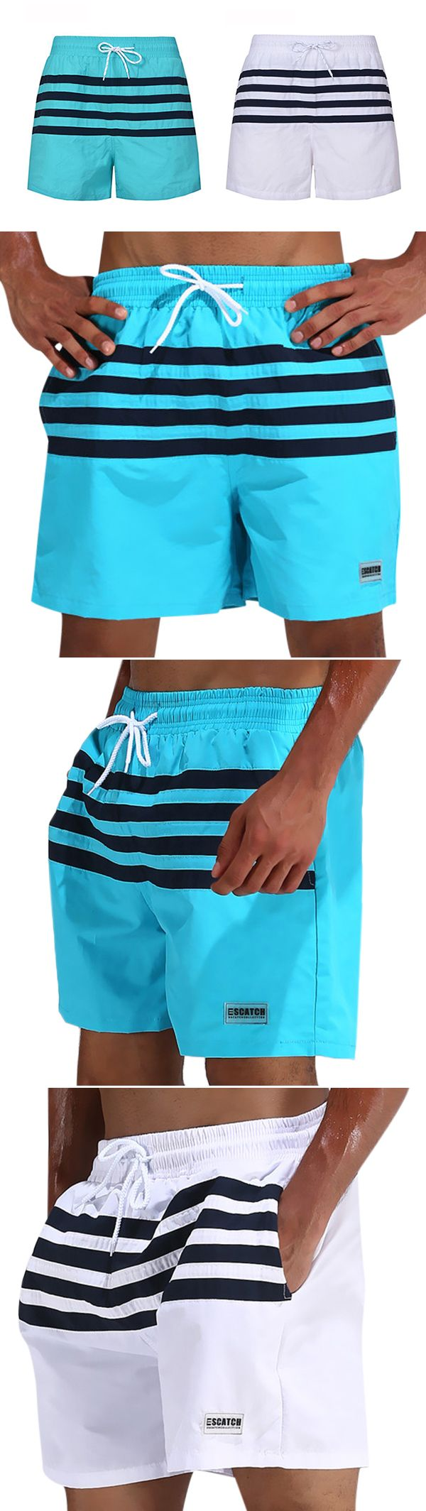 US$16.38  (45%OFF) Loose Sports Stitching Stripes Breathable Board Shorts Swimwear for Men