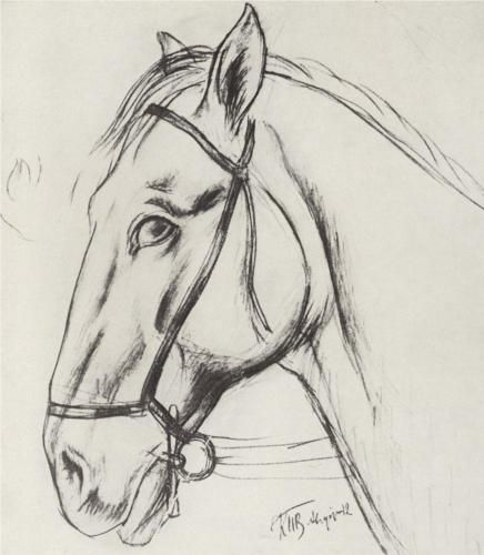Sketch for the painting Bathing the Red Horse - Kuzma Petrov-Vodkin