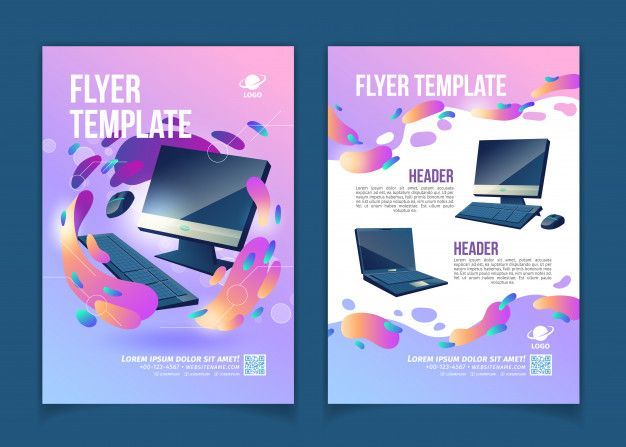 Computers trading company, innovative it or technological startup advertising flyer or banner cartoon Free Vector