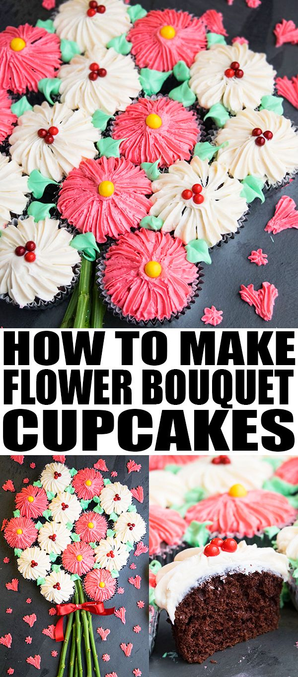 Learn how to make an easy FLOWER CUPCAKE  BOUQUET with frosting. This pull-apart flower bouquet cupcake cake is great for Mother's Day or Valentine's Day parties. From cakewhiz.com #Ad #DoughBoySurprise #cupcakes #dessert #valentinesday #valentine #mothersday #frosting #sweet #cakedecorating