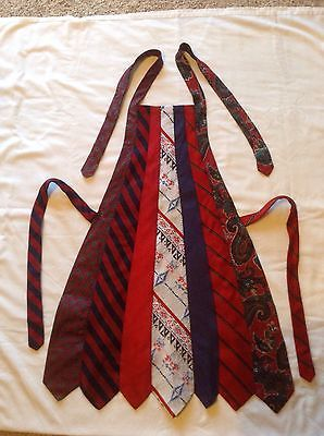 Red White and Blue Necktie Apron OOAK Upcycled, Recycled, Re-Purposed ORIGINAL