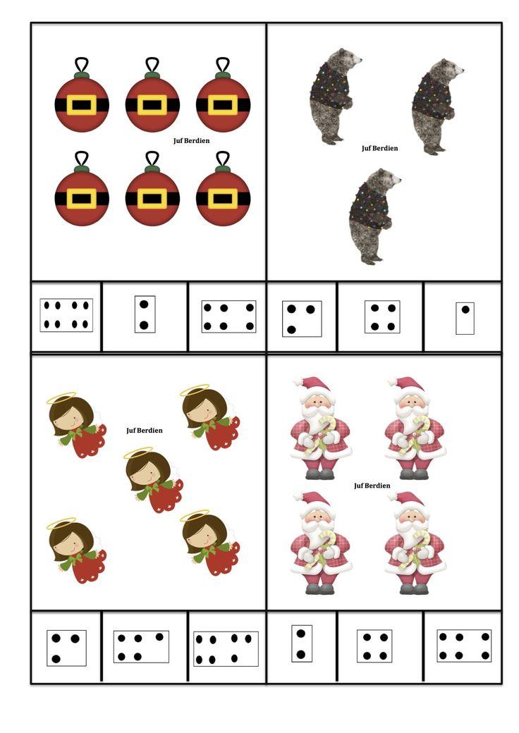 Juf Berdien zelfgemaakte telkaarten met getalbeelden thema kerst kleuters klas