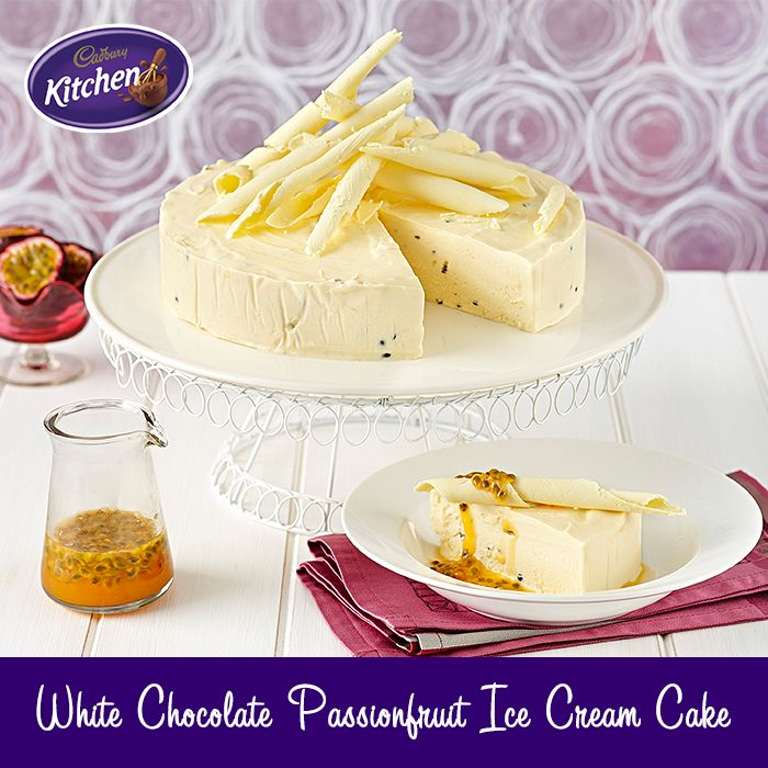 This beautiful white #chocolate and passionfruit ice cream #cake is simply summer in a #dessert! To view the #CADBURY product featured in this recipe visit https://www.cadburykitchen.com.au/products/view/cadbury-melts/