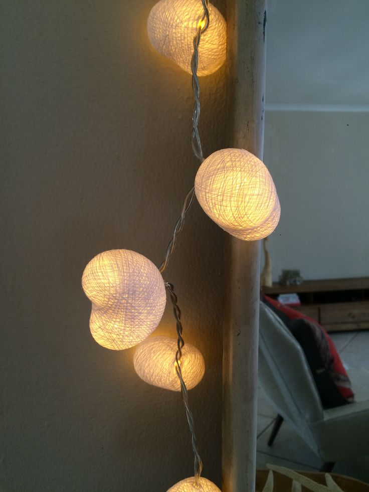 White Heart Cotton Ball String Lights.  Cotton Ball String Lights are very versatile and look great around mirrors, on tables, in vases, redundant fireplaces or in a child's bedroom as a gentle nightlight. Plus they look as good unlit as they do lit. Using our pick and mix option they're great as a personalised gift, or even as a treat for yourself for a new room that needs jazzing up! #heartlights