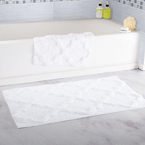 Superior Bathroom Rugs Ideas | Lavish Home 100 Cotton 2 Piece Trellis Bathroom Mat  Set White *