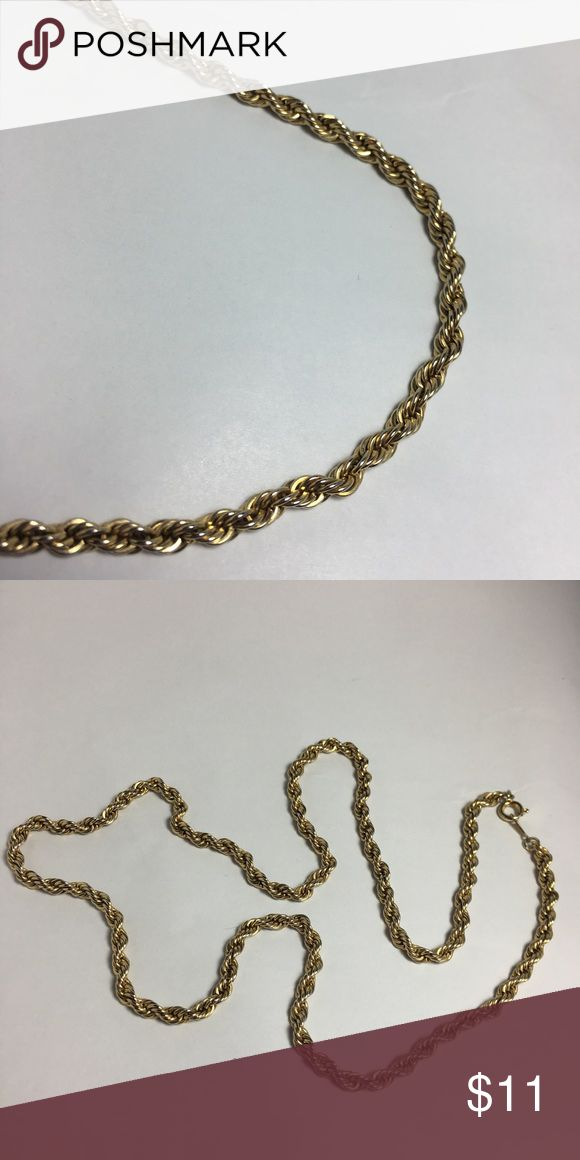 "Men's Gold Rope Chain Vintage gold rope chain, 24"". The clasp and chain are in excellent condition. I purchased this in 1985. All I remember for sure is that it's not solid gold; I couldn't have afforded that! Purchase with other items in my closet; you'll receive a bundle discount and save on shipping! Accessories Jewelry"