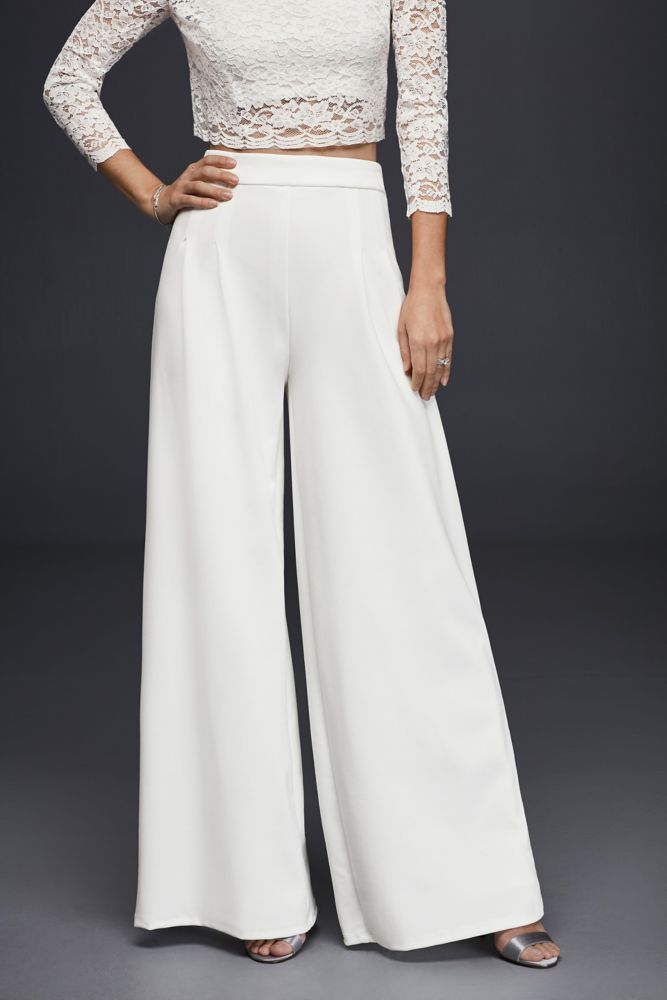 Crepe Wide-Leg Trousers - Soft White, 18
