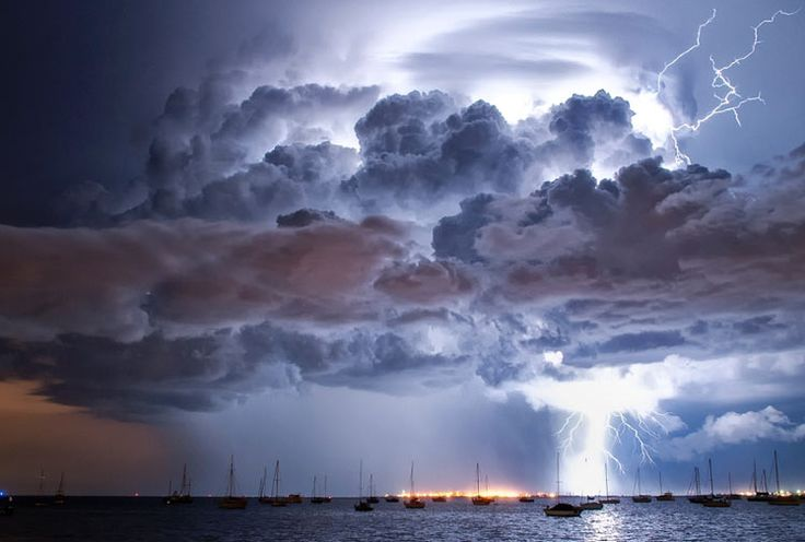 Lightning over Corio Bay, Geelong, Australia