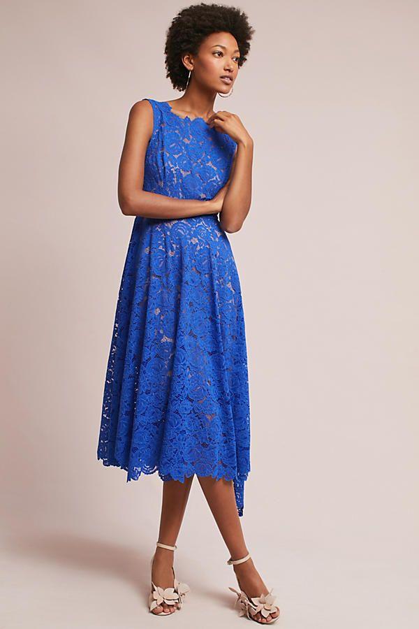 Slide View: 3: Cerulean Lace Midi Dress, Blue