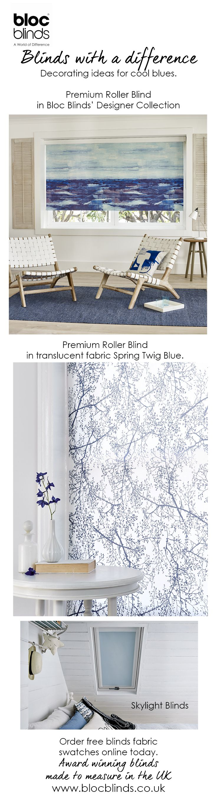 Blues are classic and fresh in any room setting.Order free fabric samples of blue roller blinds today from award winning Bloc Blinds.