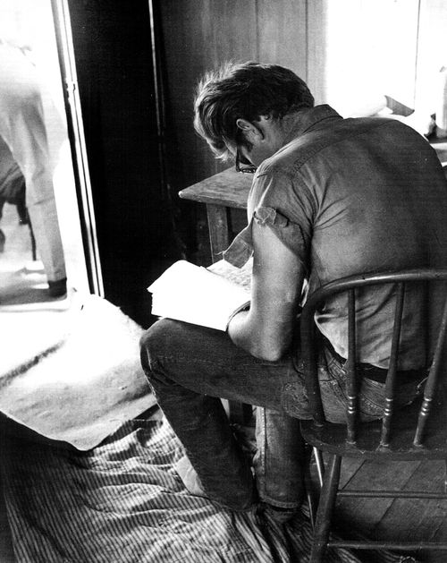 James Dean reading ... He's even cooler with those big geeky glasses. On screen, though, he was so not cool, but awkward and scared and struggling. Brilliant.