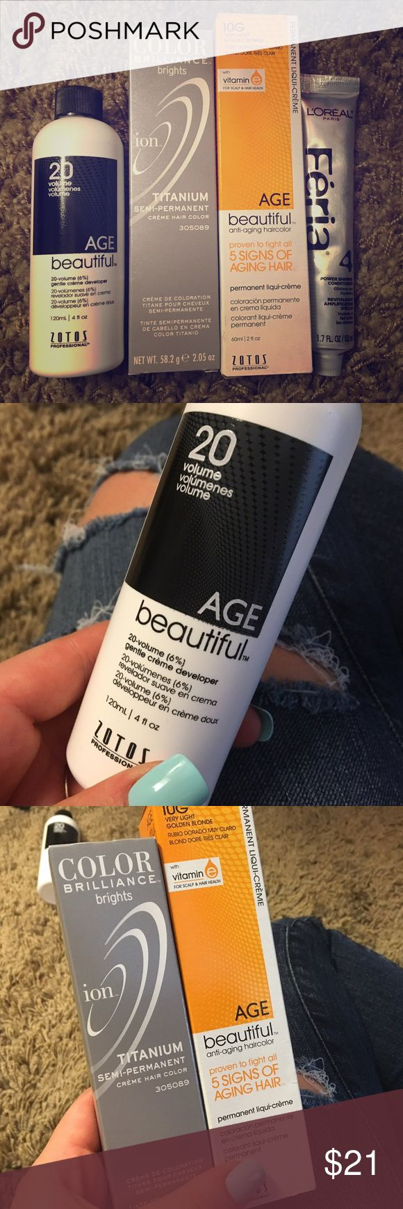 💋3 for $20 ALL NWT, 20 volume creme developer, Very light golden blonde hair dye permanent, some semi permanent titanium/ silver hair dye, and some power shimmer conditioner to make your hair come out smooth and soft! i have used these products on my hair i love them! everything you need to dye your hair! just need a bowl and brush 😁 use these professional products at home! 🚫❌not mac MAC Cosmetics Accessories Hair Accessories