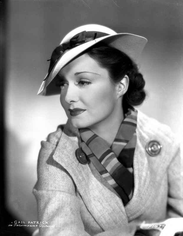 Gail Patrick on a Stripe Scarf Portrait High Quality Photo – Movie Star News