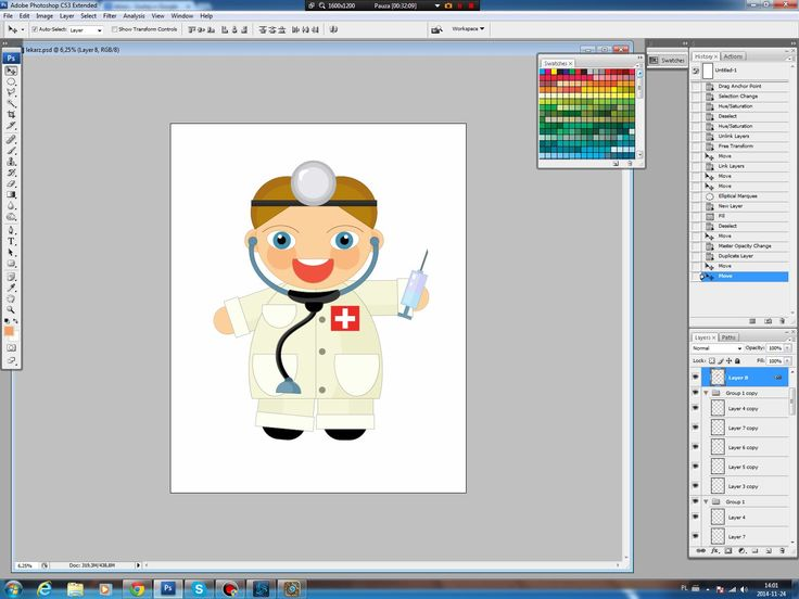 Illustrating drawing painting - cartoon doctor - rysowanie
