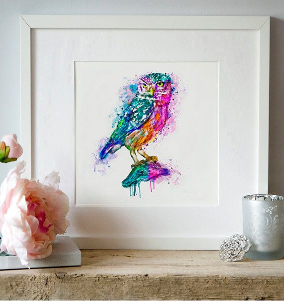 Owl Watercolor painting Wall art Aquarelle Bird art by Artsyndrome