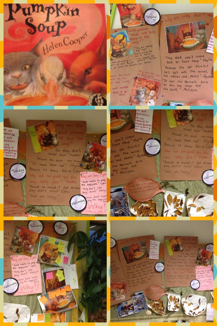 This week's learning wall. Pumpkin Soup focus story - learning how to ask questions and explain ideas.