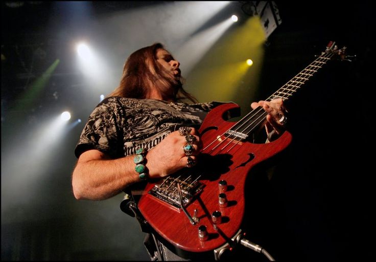 John Payne of ASIA with his custom John Payne Signature bass made by master luthier John Brown at Brown's Guitar Factory,
