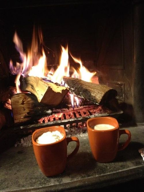Curled up near a wood burning fireplace on a cold evening :)
