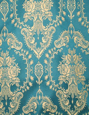 Teal/Gold Damask | Online Discount Drapery Fabrics and ...