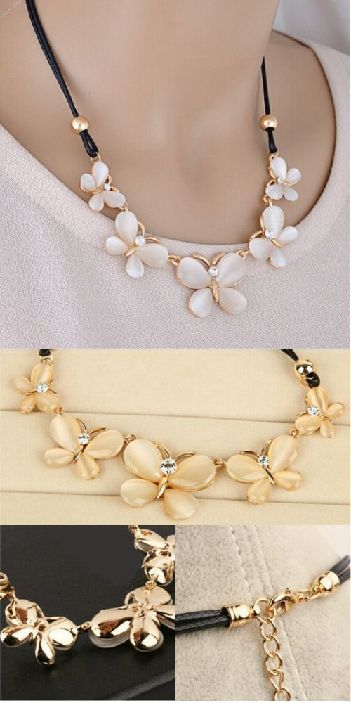 Rhinestone Butterflies Statement Necklace A stylish array of cream color  with rhinestones add stylish interest to this rope chain trendy necklace that will match perfectly on any of your outfits in any season. Great accessory and a unique gift.