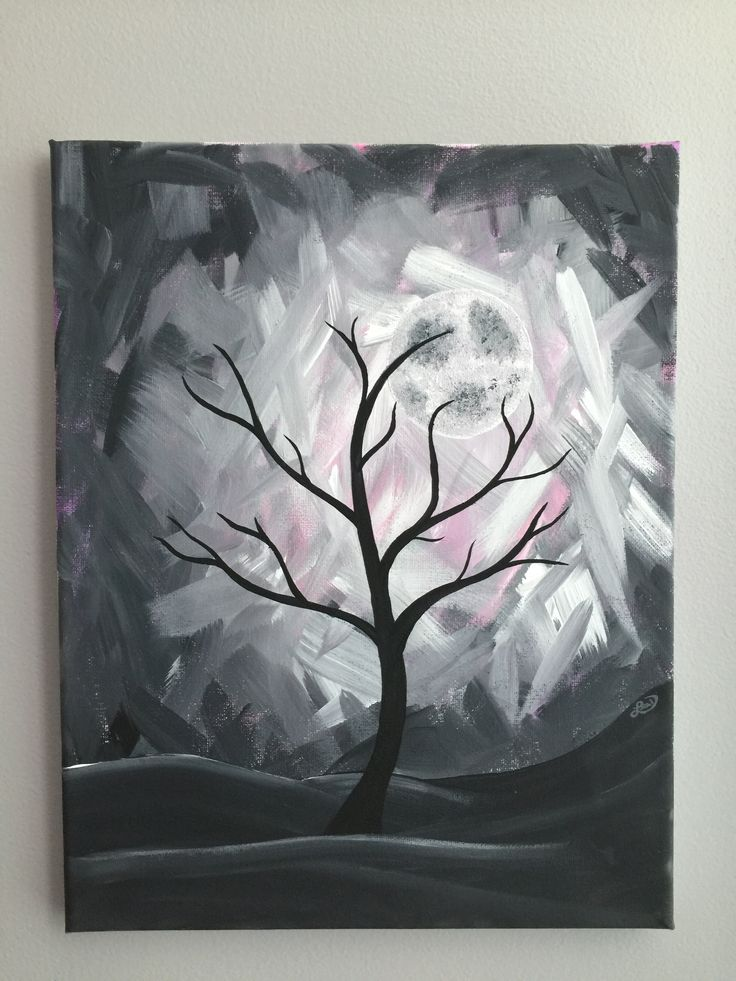 Tree/moon acrylic painting