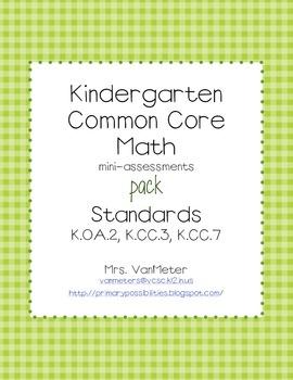 Common Core Math mini-assessments pack (K.OA.2, K.CC.3, K.CC.7): Math Counted, Math Future Classroom, Kindergarten Math, K 2 Math, Math Operation, Math Minis Assessment, Common Cores Math, Math Ideas, Common Core Math