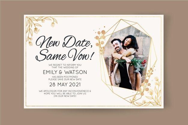Postponed Wedding Card Wedding Invitation Card Design Wedding Cards Wedding Invitation Cards