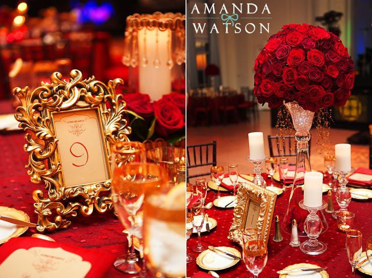 red and gold wedding decor inspiration for mobella events wedding planner orlando wedding